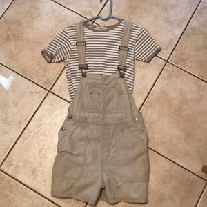 Short bib overalls (size m) and shirt (size s)